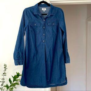 Old Navy Denim Shirt Cotton Dress Long Sleeves